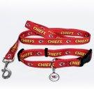 Kansas City Chiefs Pet Dog Leash Set Collar ID Tag Gift Size Medium