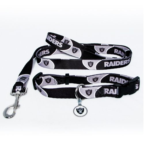 Oakland Raiders Pet Dog Leash Set Collar ID Tag Medium