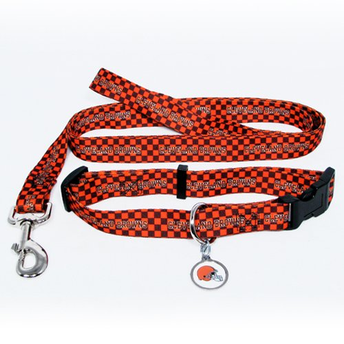 Cleveland Browns Pet Dog Leash Set Collar ID Tag Large