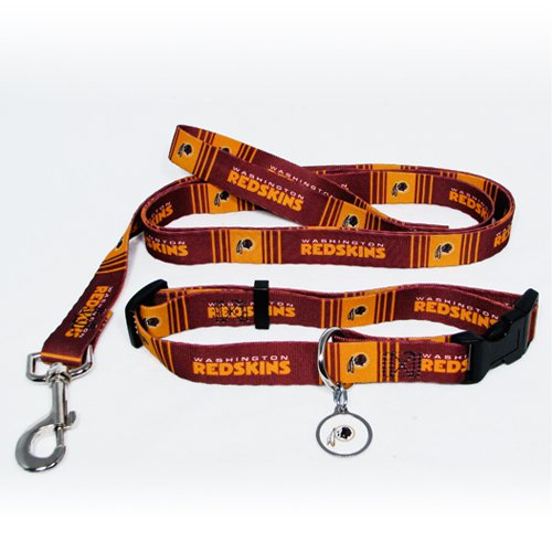 Washington Redskins Pet Dog Leash Set Collar ID Tag Small