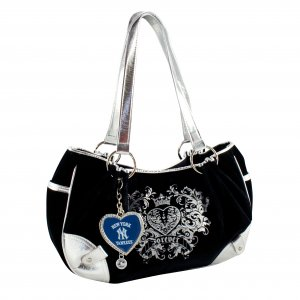 New York Yankees Luxe Velour Hobo Purse w/ Crystals