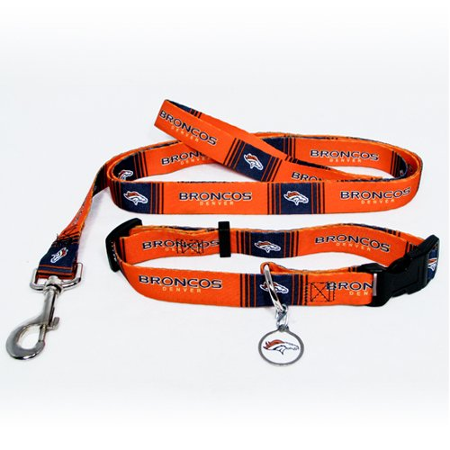Denver Broncos Pet Dog Leash Set Collar ID Tag Medium