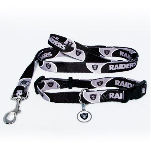 Oakland Raiders Pet Dog Leash Set Collar ID Tag Large