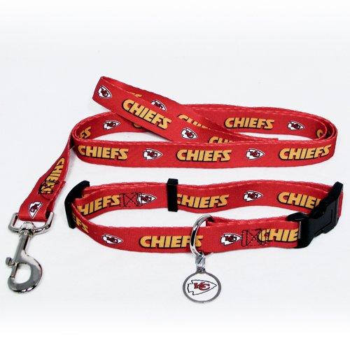 Kansas City Chiefs Pet Dog Leash Set Collar ID Tag Small