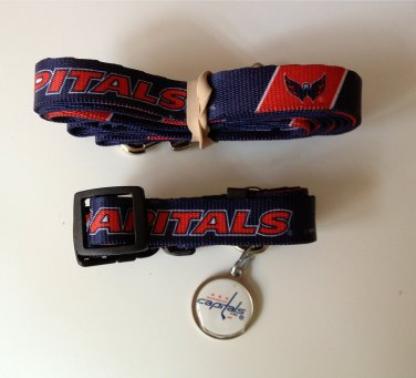 Washington Capitals Pet Dog Leash Set Collar ID Tag Small