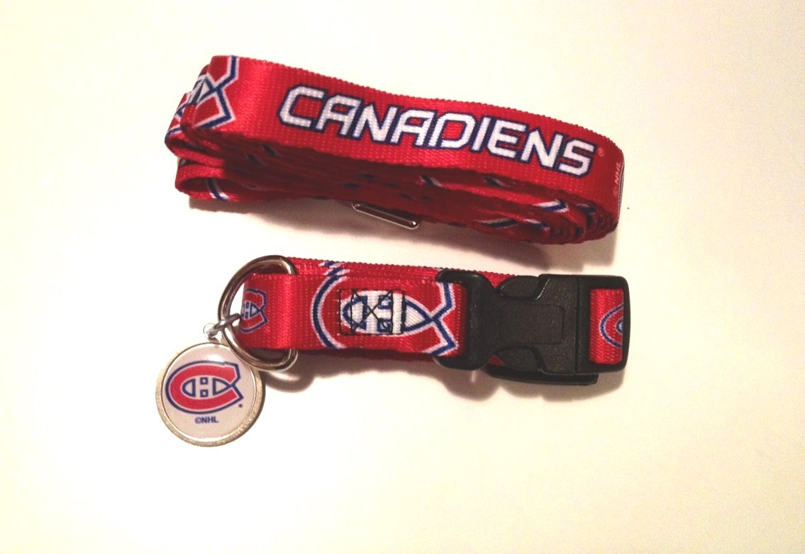 Montreal Canadiens Pet Dog Leash Set Collar ID Tag Large