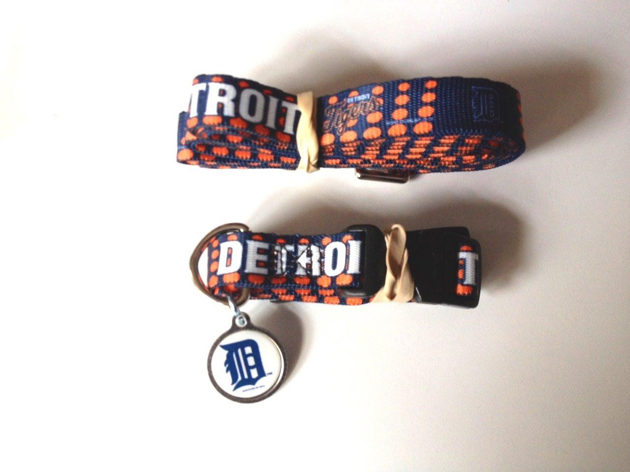 Detroit Tigers Pet Dog Leash Set Collar ID Tag Medium