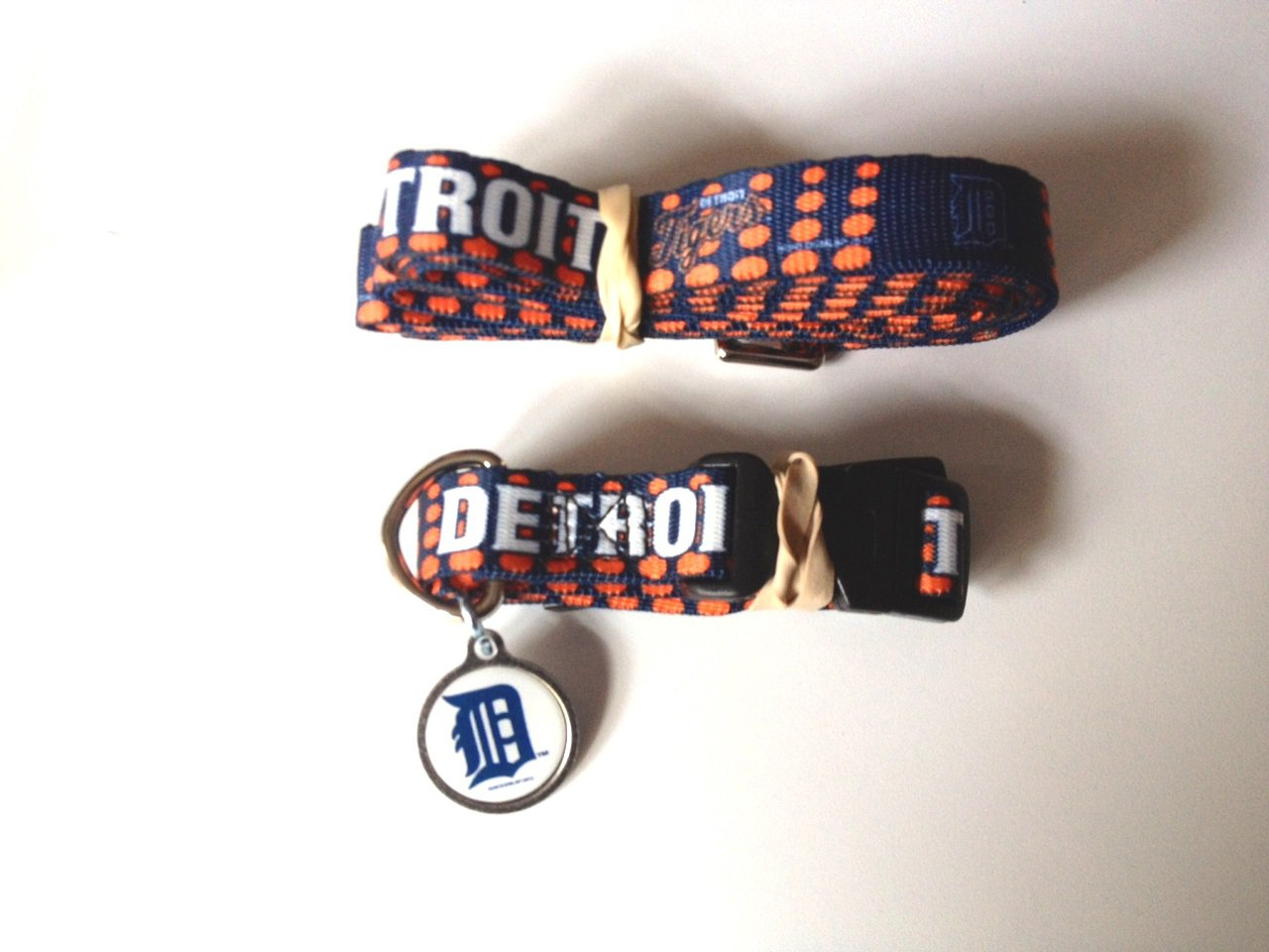 Detroit Tigers Pet Dog Leash Set Collar ID Tag Large