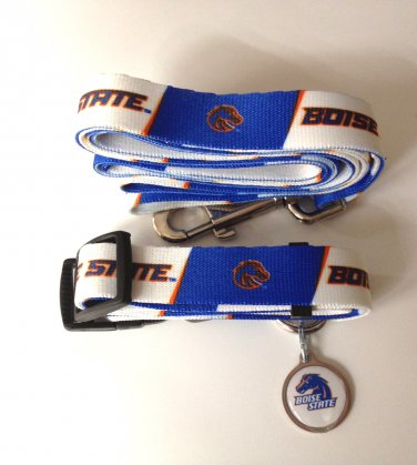 Boise State University Broncos Pet Dog Set Leash Collar ID Tag Medium