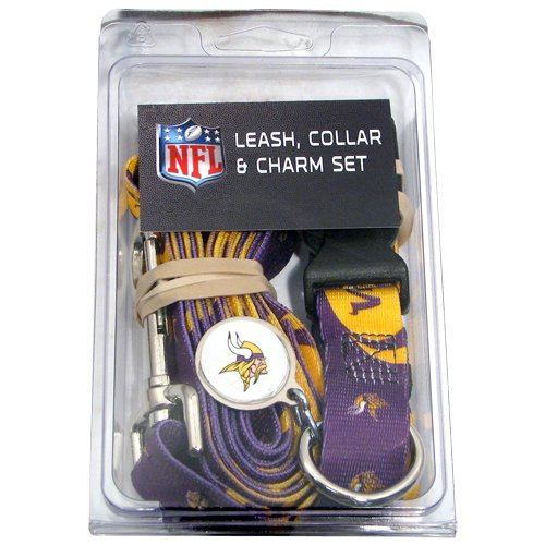 Minnesota Vikings Pet Dog Leash Set Collar ID Tag Small