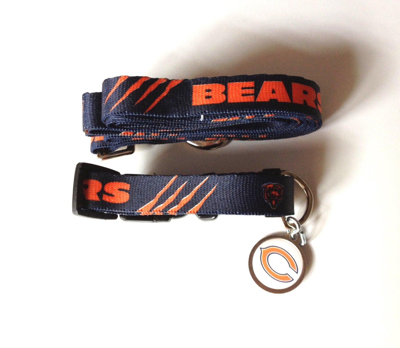 Chicago Bears Pet Dog Leash Set Collar ID Tag Medium
