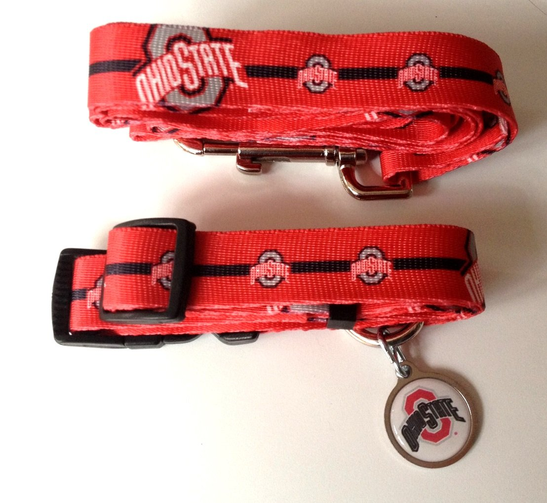 Ohio State University Buckeyes Pet Dog Set Leash Collar ID Tag Medium