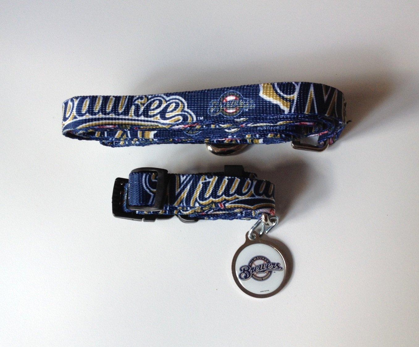 Milwaukee Brewers Pet Dog Leash Set Collar ID Tag Medium