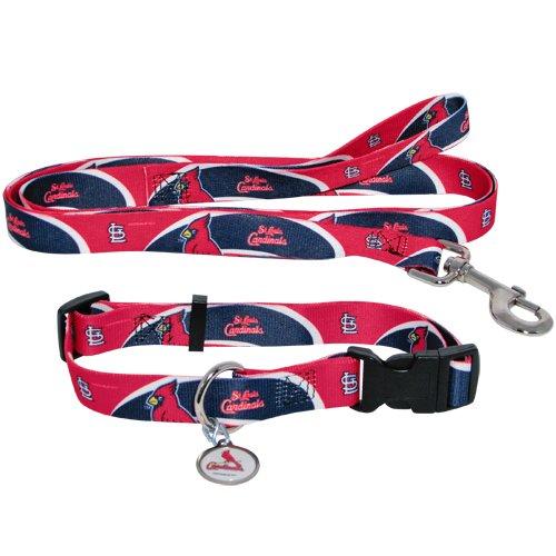 St. Louis Cardinals Pet Dog Leash Set Collar ID Tag Medium