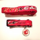 Calgary Flames Pet Dog Leash Set Collar ID Tag Gift Size Medium