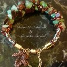 Woven Brown Bronzite and Tell Green Chrysoprase Bracelet $59