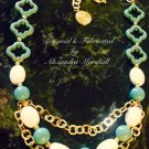 turquoise colored Magnesite and White Turquoise necklace with 18K Gold over brass $89