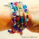 """Gypsy Jewels"" Rainbow colored Czech and Millefiori Glass wrap bracelet $39"