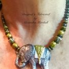 Live Large Hand Cast Clay Steel & Silver and Brass elephant necklace $89