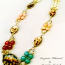 Tiger Cowry Shell, Agate, Carnelian, Jade, & Riverstone artisan crafted Necklace $159