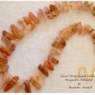 Peach colored Quartz Rock Crystal Citrine and Carnelian Necklace $119