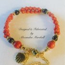 """Red Coral and Charcoal Hemitite 7"""" bracelet $49"""
