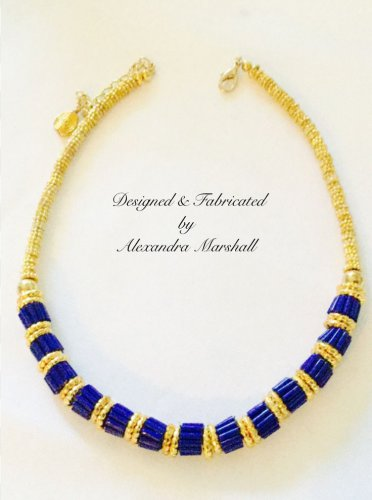Opaque cobalt blue Czech glass cylindrical beaded necklace $109