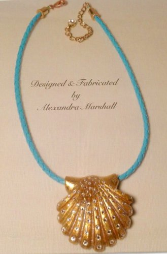Gilded and Crystal Encrusted Scallop Shell Pendant Necklace $119