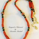 red Coral, black Hematite, and red, silver, & gold India Art bead rope necklace $179