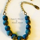 Chunky Natgural Blue Coral and Pyrite Necklace $104