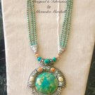 Morocco Inspired Boho Cabochons, Turquoise, Aventurine Magnesite & Quartz Necklace $269