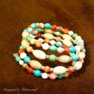 Gemstone Sterling Silver Wrap Bracelet Quartz and Riverstone $69.00