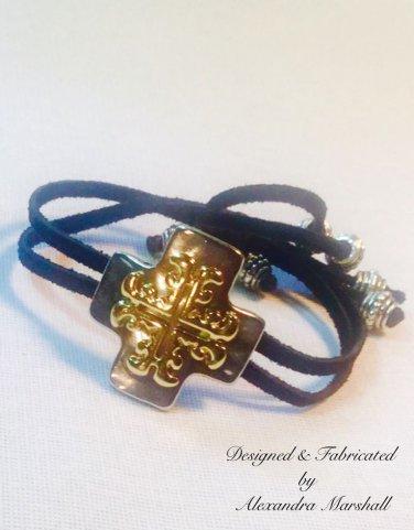 Double Banded Black Sued, Platinum Color Pewter and Gold Overlay Wristlet Bracelet $34