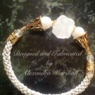 Art Noveau Style Rock Crystal and White Handwoven Leather Bracelet $79