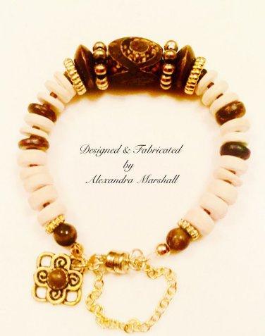 Cream and Fudge Tibetan DZI Bead, Coco Wood and 14K Gold Overlay Bracelet $42