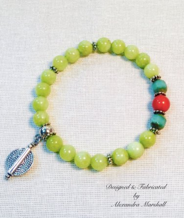 Lime Green Jade, Turquoise and Coral Bracelet $29