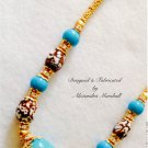Elegant Turquoise with Brown and White Fire Agate Swarovski Crystal Necklace $189
