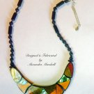 OOAK Inlaid Mosaics of Abalone and Exotic Woods Necklace $89