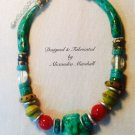 Contemporary Tribal Design Necklace Clay and Faux Finished Amber, Turquoise Tusks Necklace $169