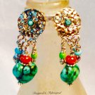 Colorful Turquoise, Coral, and Glass tasseled SSF clip back earrings $34