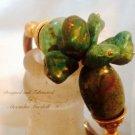 Genuine Green Southwest Tourquoise Nugget Gold Leaf bangle Bracelet $89