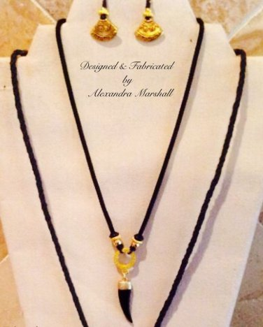 Black Talon Pendant Necklaces on Kumihimo Cords $109