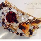 Artisan Crafted Wire Wrapped Cuff with Topaz and Clear Swarovski Crystals 14K Gold Filled Wire $359