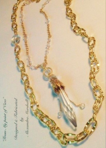 Set of 2 18K Gold Overlay Swarovski Crystal Austrian Chndelier Drop Necklaces $189