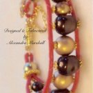 Hot Pink Leather Chan Luu Style Gold Brown Pearls Bracelet $59