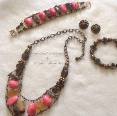 Pink Jade, Smoky Quartz, Citirine & Vintage Bronze Ensemble Necklace Earring Bracelet Set $259
