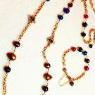 Freshwater Pearl Hand Wired Vivid Jewel Toned Necklace $169