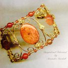 Orange Fire Agate, Carnelian and 14K Gold Overlay Artisan Cuff bracelet $179