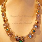 """Pearl and Multi Colored Swarovski Crystal 18"""" Necklace $189"""