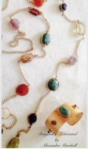Multi Gemstone & Cuff Bracelet Set Amethyst, Carnelian, & Lapis $249